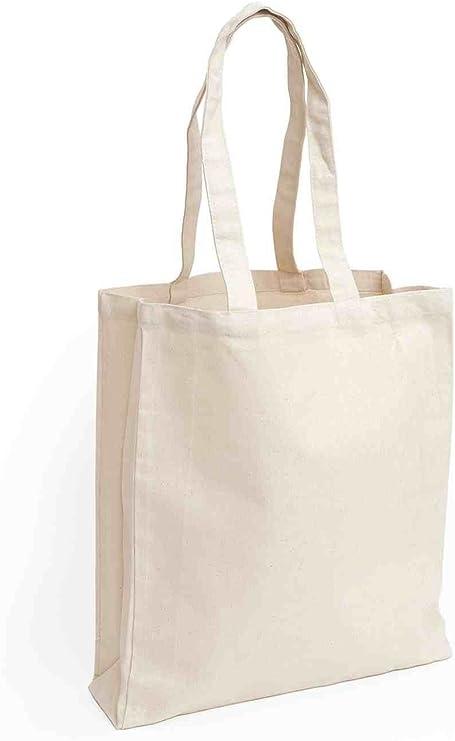 DeliaWinterfel 12 Bolsas de algodón con Asas largas, Color Natural ...