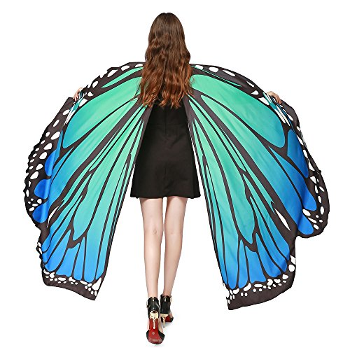 Women Costume Accessory Butterfly Wings Shawl Scarves Ladies Nymph Pixie Poncho (Blue, -
