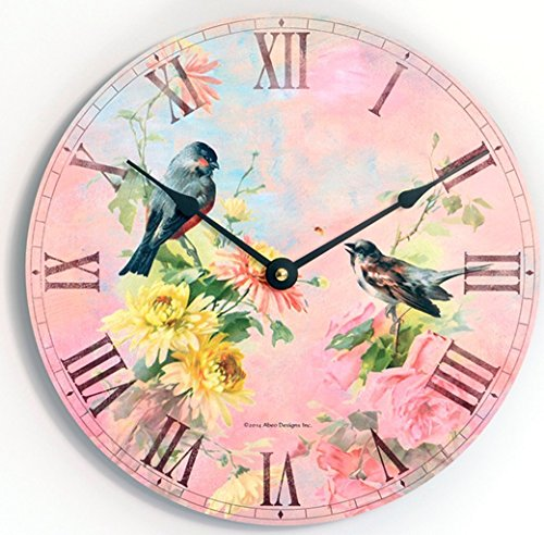 Vintage shabby chic or Victorian style birds and flowers 10 inch kitchen wall clock. Pink and blue background.