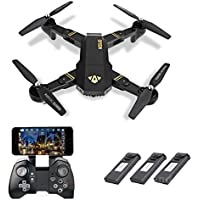Leewa@ Visuo XS809HW Wifi FPV Foldable RC Quadcopter, 2.4G 4CH 6 Axis Altitude Hold Function Remote Control Drone with 720P HD 2MP Camera Drone with 3 Batteries -Black