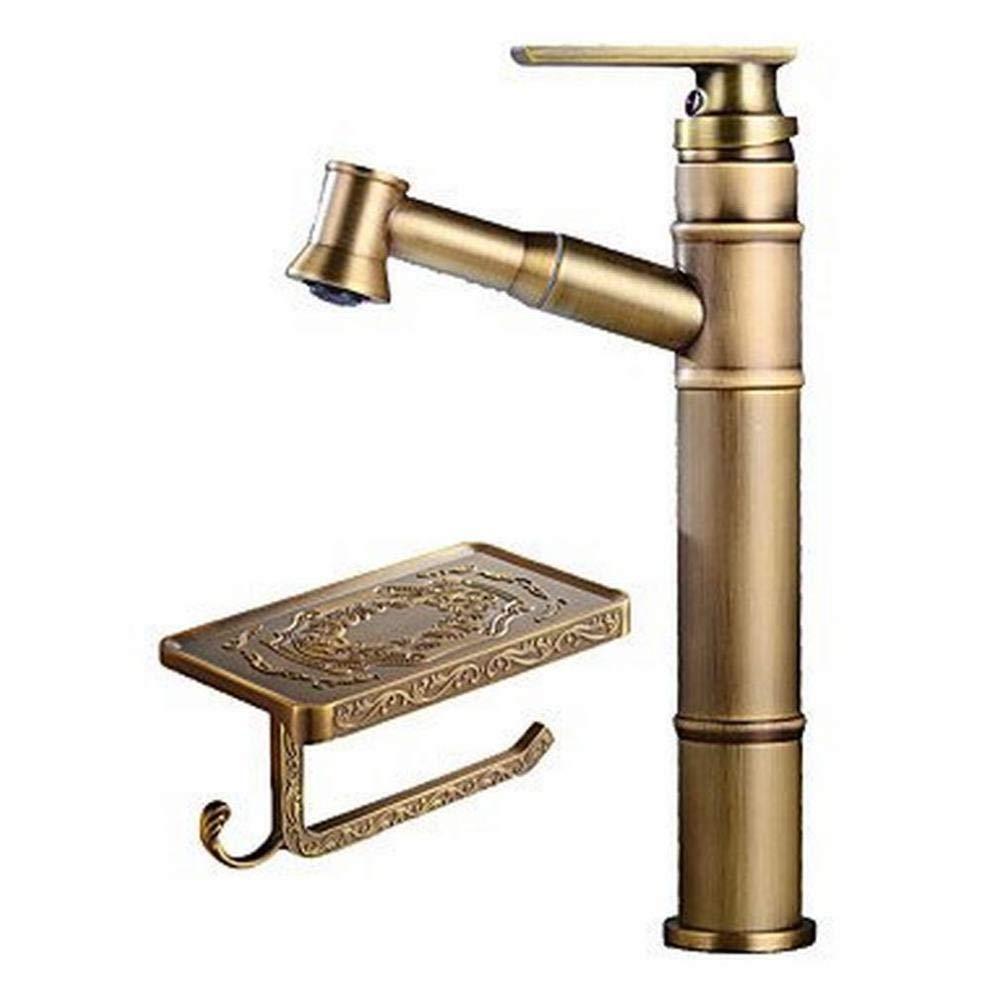 JI Widespread Ceramic Valve Single Handle One Hole Antique Copper, Bathroom Sink Faucet,A,One Size