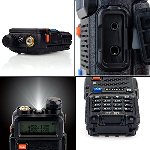 Retevis RT-5R 2 Way Radio 5W 128CH Dual Band UHF/VHF 400-520MHz/136-174MHZ FM Walkie Talkies (6 Pack) and Programming Cable by Retevis (Image #4)