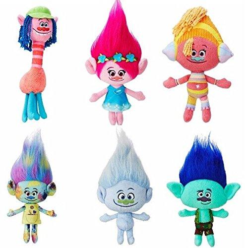 Dreamworks Trolls Movie 12'' Plush Doll Set of 6 - Poppy, Harper, Branch, Cooper, DJ Suki and Guy Diamond by Seven X