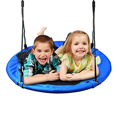 Cozypony Outdoor Tree Swing for Kids Durable Fabric Load Bearing up to 300 lbs. Round Swing