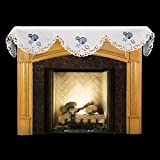 Linens, Art and Things Embroidered Blue Seashell Coral White Fireplace Mantle Scarf 19'' X 90''