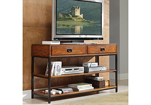 """Home Styles Modern Craftsman Oak Finish Tv Stand Distressed Oak Finish Dimensions: 54"""" W X 18"""" D X 31.5"""" H Weight: 58 Lbs - Home Styles, Modern Craftsman Collection, Dimensions: 54""""W x 18""""D x 31.5""""H. Weight: 58 lbs. Poplar solids, Oak veneers, and brown metal. Accomodates most 60"""" flat panel TV""""s. Two storage drawers. Two fixed shelves. Ships ready to assemble. The Home Styles Modern Craftsman collection lives up to its name, giving you proven traditional craftsmanship with a modern twist.TV console has a spacious top shelf that will accommodate flat panel TVs up to 60"""". Two storage drawers provide an ideal spot for storing small items like remote controls. - tv-stands, living-room-furniture, living-room - 51wDwuu2nVL -"""