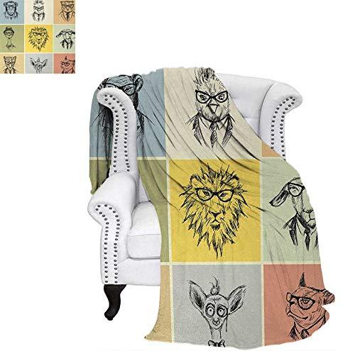 (Summer Quilt Comforter Hipster Animals Monkey Camel Cat Lion Goat Tiger Business Man Glasses Illustration Digital Printing Blanket 60
