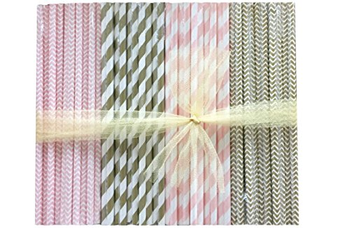 Bulk Pack Paper Straws - Gold Pink White - Stripe Chevron -7.75 Inches - 500 Pack - Outside the Box Papers (500 Ct Box)