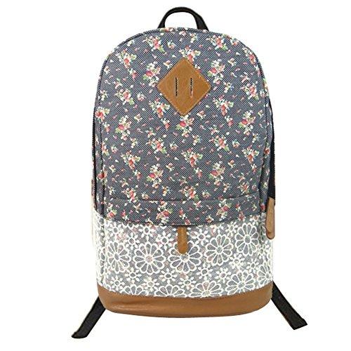 Girl's Korean Leisure Lace Canvas Flowers Printed Backpack Book Bag Tote Handbag Travel Hiking Campus Schoolbag Shoulder Bag For Teens Juniors College Student Blue Pink Black Khaki