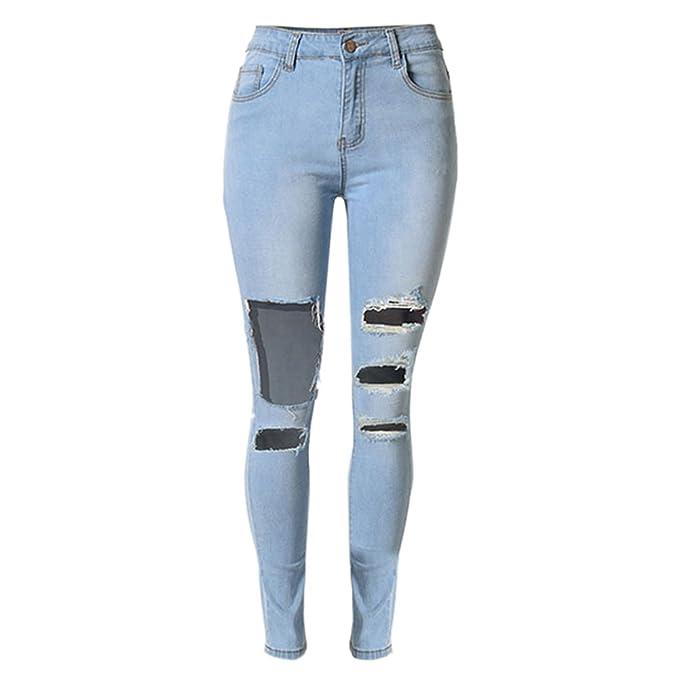 39cbe08433a LIYT-TOPSHOP Women's Fashion High Waist Slim Ripped Jeans Pencil Pants Light  Blue