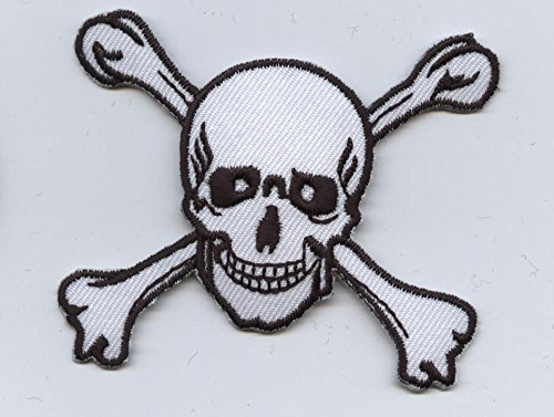 Large Skull and Crossbones Iron on Embroidered Patch