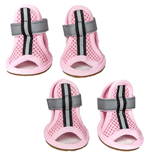 PET LIFE 'Sporty Supportive' Summer mesh Pet Dog Sandals Shoes Booties- Set of 4, Small, Pink