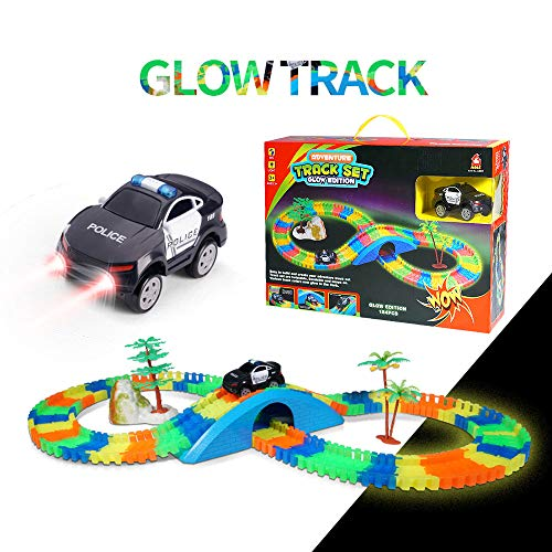 Aole Race Tracks for Boys, Glow Race Car Track Set Toy Educational Twisted Flexible Tracks154 Pcs with Electric Police Car Rockery Tree Arch Bridge Toys for Kids(Black) ()