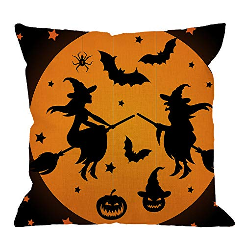 HGOD DESIGNS Halloween Throw Pillow Cushion Cover,Two Witches on Broomticks with Bats and Spider and Pumpkin Cotton Linen Polyester Decorative Home Decor Sofa Couch Desk Chair Bedroom -