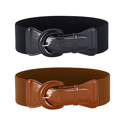 Women's Big Buckle Belts for Vintage Dress (Black&Brown,S,2 Pack)