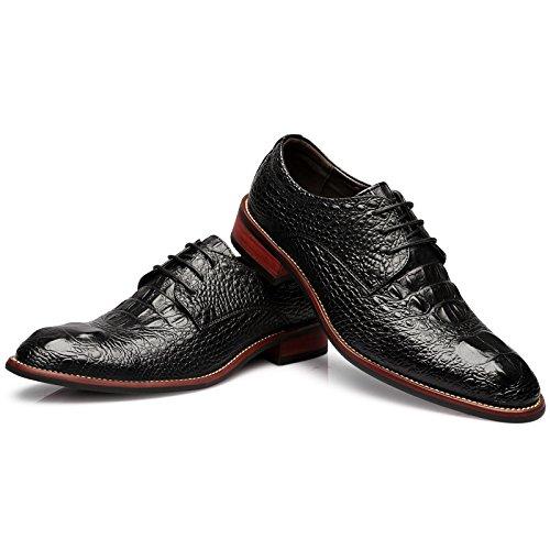 Punta Cuero Hombre Zapatos Cocodrilo De Con Diseño Black 5rXYqPzwYn