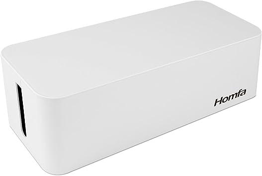 Homfa Caja para Cables Organizador de Cables Caja para Guardar Cables Cargadores Regletas de ABS Blanco 40.5x15.6x13.3cm: Amazon.es: Electrónica