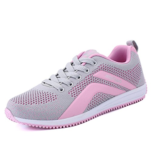 Cheap ROMENSI Women's Knit Mesh Breathable Sneakers Lightweight Athletic Walking Golf Shoes (9.5 B(M) US, Pink)