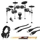 alesis dm10 drum module - DM10 MKII Studio Kit Nine-Piece Electronic Drum Kit with Mesh Heads + CAD MH110 Monitor Headphones + TRS Stereo Cable + Type A to Type B USB Cable + On Stage Maple Wood 5B Drum Sticks – Valued Bundle