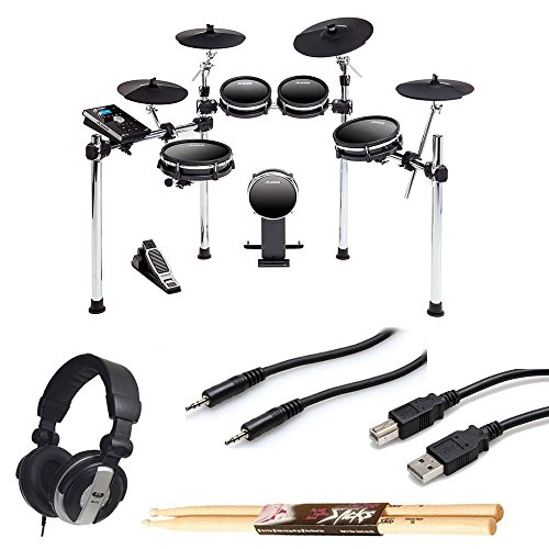 DM10 MKII Studio Kit Nine-Piece Electronic Drum Kit with Mesh Heads + CAD MH110 Monitor Headphones + TRS Stereo Cable + Type A to Type B USB Cable + On Stage Maple Wood 5B Drum Sticks – Valued Bundle by Alesis