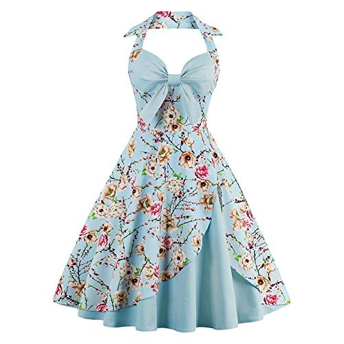 - Suroomy Vintage Halter Cocktail Dress 1950S Retro Swing Homecoming Dresses Sky Blue Floral S