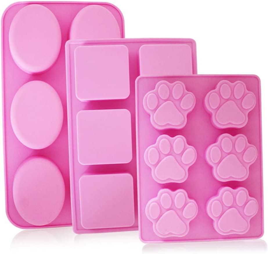 Cake Decoration 3 Pack Baking Jelly Molds Oval Ice Tray with Shapes of Puppy Dog Paw Hot Pink 3 Types YuCool 6-Cavity Silicone Soap Molds Trays Square