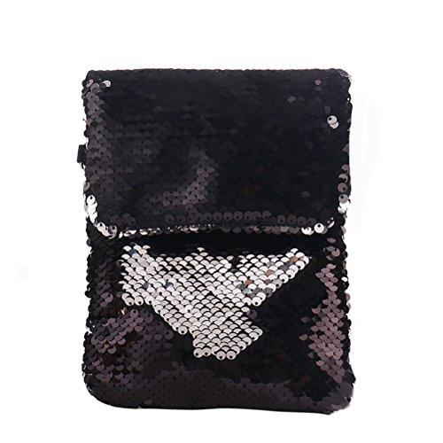 glitterata a tracolla Borsa paillettes mini quadretti con colorata con Borsa a tracolla a baguette mano FENICAL nero a SwtxqES0