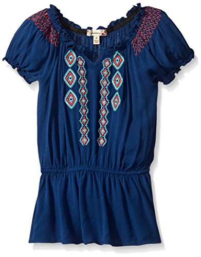 Embroidered Gauze - Speechless Big Girls Embroidered Gauze Peasant, Navy/Teal, Medium