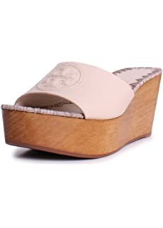 1b810030636 Tory Burch Patty Leather 80MM Slide Wedges in Dulce de Leche