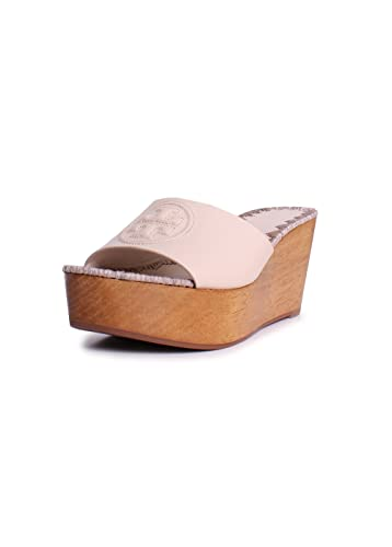 Tory Burch Patty Leather 80MM Slide Wedges in Dulce de Leche Size 7