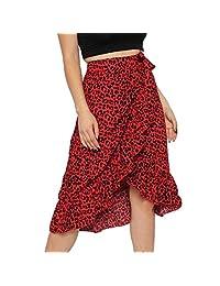 Yellsong Falda de Cintura Alta para Mujer, con Volantes, Dobladillo de Leopardo, Falda Midi, Casual, Rojo, XX-Large