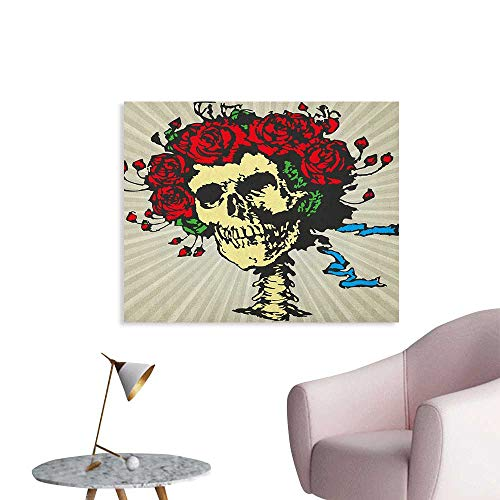 Anzhutwelve Rose Poster Wall Decor Tattoo Art Style Graphic Skull in Red Flowers Crown Halloween Composition Print Art Poster Beige Multicolor W48 xL32 ()