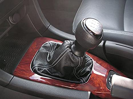 RedlineGoods Shift Boot Compatible with Saab 9-3 2003-12 Black Leather-Silver Thread