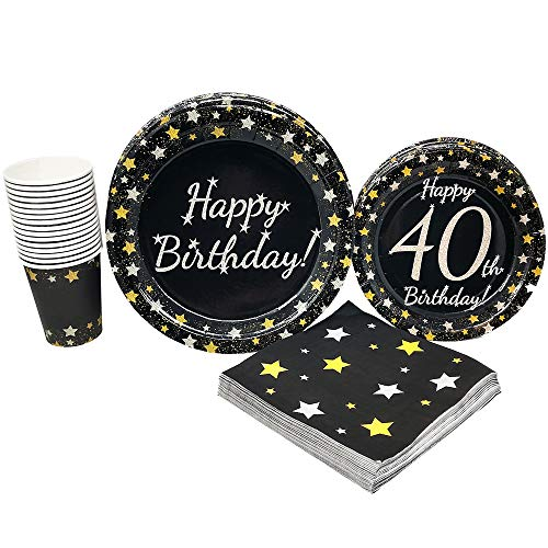 40th Birthday Party Supplies (65+ Pieces for 16 Guests!), Milestone Birthday Kit, Fortieth Tableware Pack, Anniversary Birthday Decorations, Gold and -