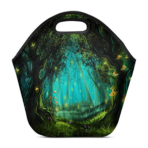 InterestPrint Neoprene Lunch Bag Fantasy Fairy Forest Green Insulated Lunchbox Tote Bag