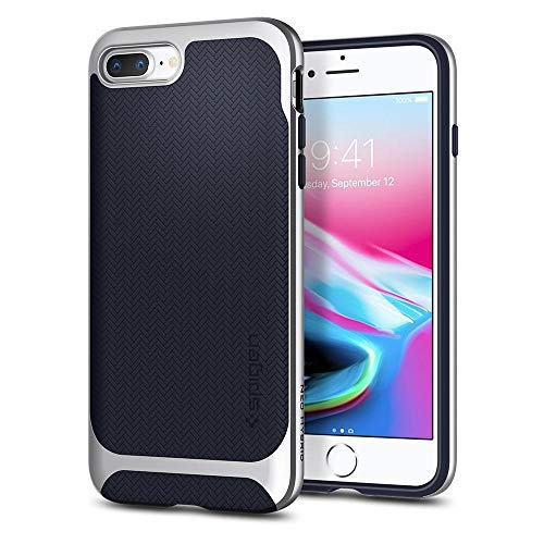 Spigen Neo Hybrid Herringbone iPhone 8 Plus Case/iPhone 7 Plus Case with Hard Bumper Frame for Apple iPhone 8 Plus (2017) / iPhone 7 Plus (2016) - Midnight Blue & Satin Silver