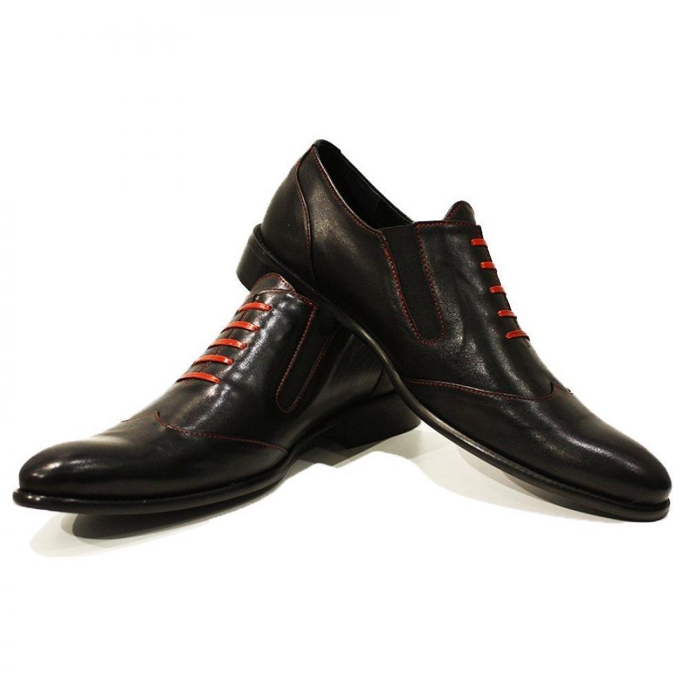 Peppeschuhe Modello Adamo - Handgemachtes Italienisch Leder Herren Schwarz Mokassins Müßiggänger und Slip-Ons - Rindsleder Weiches Leder - Schlüpfen