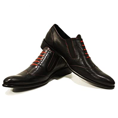 PeppeShoes Modello Adamo - 7 US - Handmade Italian Mens Black Moccasins Loafers - Cowhide Smooth