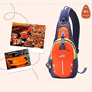 Portable Multi-functional Water Repellent Unisex Outdoor Sports Chest Pack Bum Bag Sling Bag Hiking Daypacks Adjustable Strap Shoulder Backpack Cross Body Bag Orange