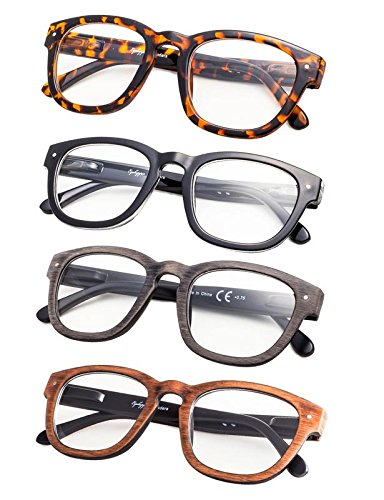 4-Pack Vintage Reading Glasses with Spring Hinges for Women and Men Readers