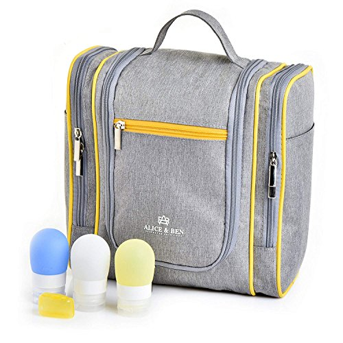 Hanging Toiletry Bag – Large Travel Toiletries Organizer with Strong Metal Hook, Zippers – Waterproof, Compact, Portable Mens & Womens Toiletry Kit Hiking Bag – Unisex Shower Bag by Alice & Ben, Grey by Alice & Ben