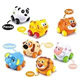 Cartoon Animals Friction Push and Go Toy Cars Play Set for Baby (Set of 8)
