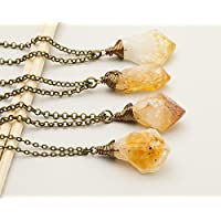Raw citrine November birthstone antique bronze long chain pendant necklace 24 in
