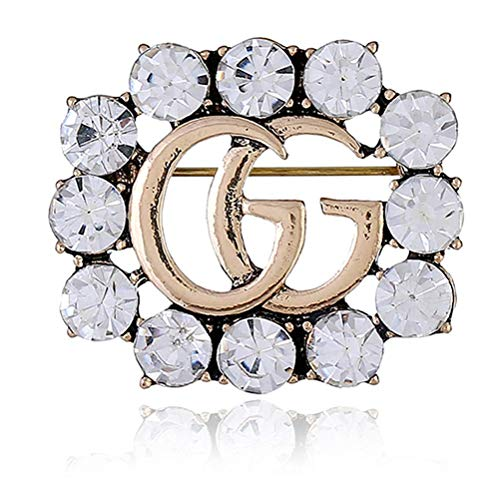 COOLSIR GG Brooch Pins for Women, Wedding Jewelry Crystal Rhinestone Flower Brooch for Crafts (White)