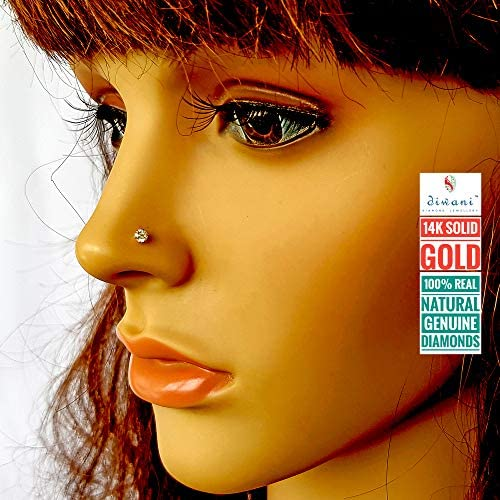 3.5mm Solitaire D//VVS1 Diamond Pin 14k Gold Nose Lip Labret Monroe Ring Screw