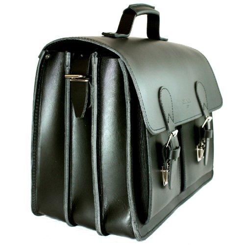 DELARA geräumige Aktentasche aus schwarzem Leder mit Schulterriemen - Made in Germany