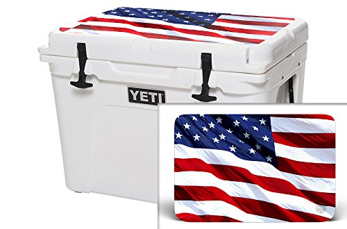USA Tuff Thickest & Toughest Wrap 24Mil Cooler Decal Skin for YETI 65QT Tundra Lid Kit – USA Stars Color
