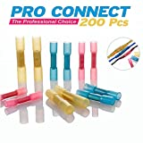 Pro Connect 200, Heat Shrink Butt Connectors Waterproof Terminals 200pcs Marine Automotive Crimper Insulated Solderless Hot Melt Adhesive Copper Wire Electrical Kits (3 colors 3 sizes), 90/80/30