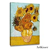 "Vincent Van Gogh Sunflowers (Vase with Twelve Sunflowers ) Art Poster Print Framed Canvas Prints Ready to Hang 12""X16"""