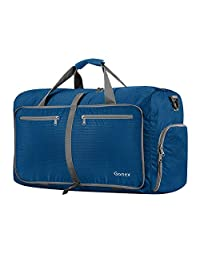 Gonex 60L Foldable Travel Duffel Bag for Luggage, Gym, Sport, Camping, Storage, Shopping Water Repellent & Tear Resistant Deep Blue